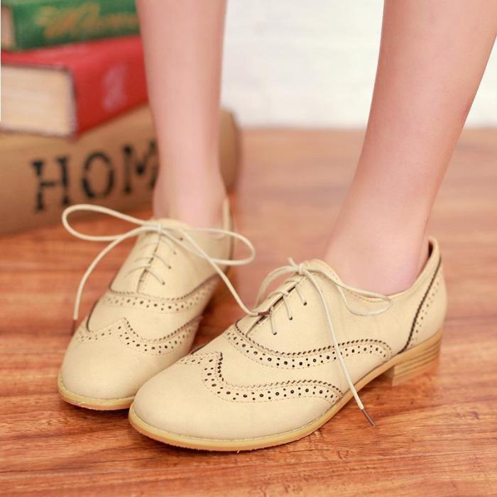 Laser Cut Low Heels Lace-Up Shoes