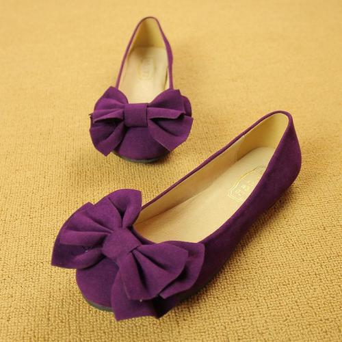 Women Large Size Faux Suede Round Toe Bow Knot Slip on Flat Shoes