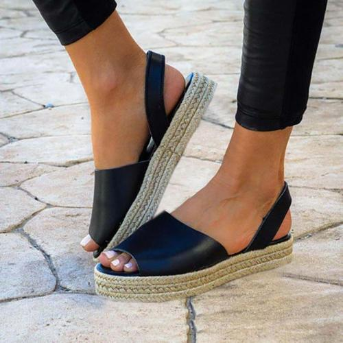 Women PU Creepers Sandals Casual Back Strap Peep Toe Shoes