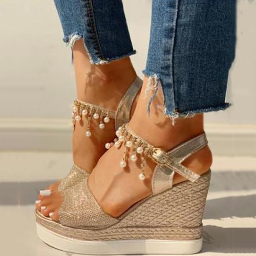 Fashion Shining Wedge Platform Sandals