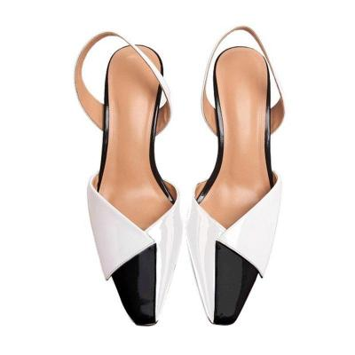 Genuine Leather Chunky Heel Color Block Sandals