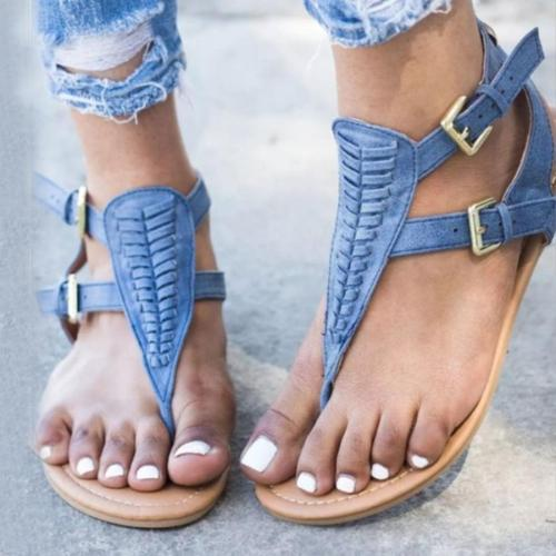 Plain  Flat  Faux Leather  T Strap  Peep Toe  Casual Gladiator Sandals