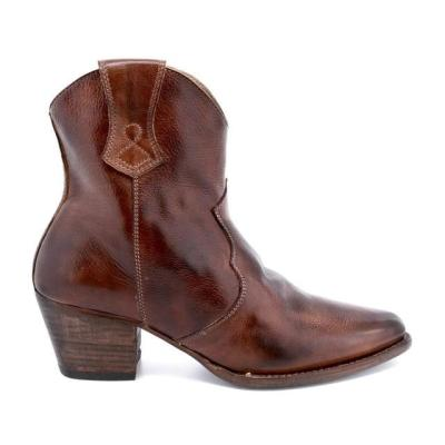 Cowgirl Ankle Boots Pointed Wedge High Heel Print Zipper