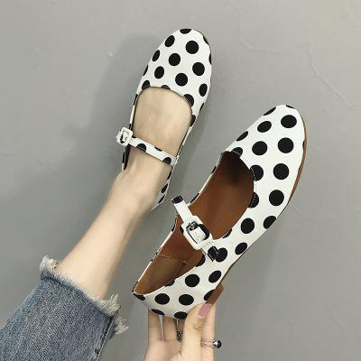 Polka Dot Buckle Round Toe Flat Heel Mary Jane Shoes