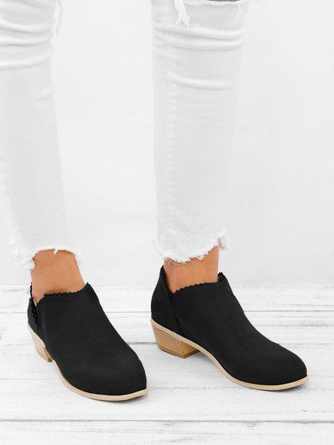 Women Booties Slip On Low Heel Ankle Plus Size Shoes