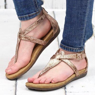 Women's PU Flip-flops Round Toe Zipper Rome Style Flat Sandals