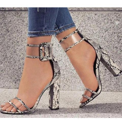 Womens Buckle High Heel Casual Summer Sandals