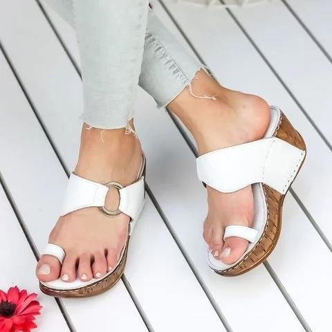 Toe Ring Wedge Heel Slip-on Slippers