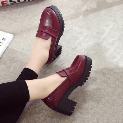PU Chunky Heel Casual Loafers
