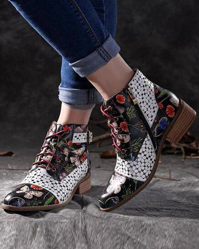 Floral Heeled Lace-Up Bootie