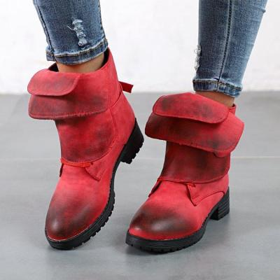 Pu Stylish Rivet Buckle Mid Heel Slipproof Platforms Boots