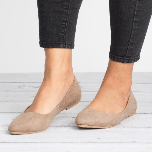 Angie Taupe Ballet Flats