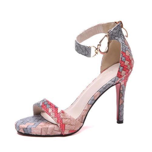 Color Block Weaving Spring/Summer High Heel Shoes