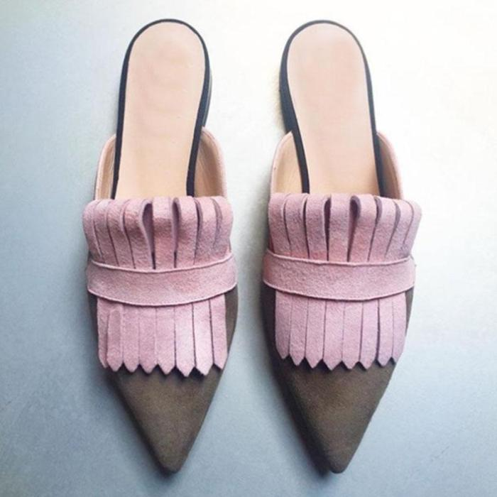 Women Chic Artificial Leather&Suede Fringe Slip-On Sandals