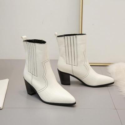 Women's fashion solid color pointed Martin boots