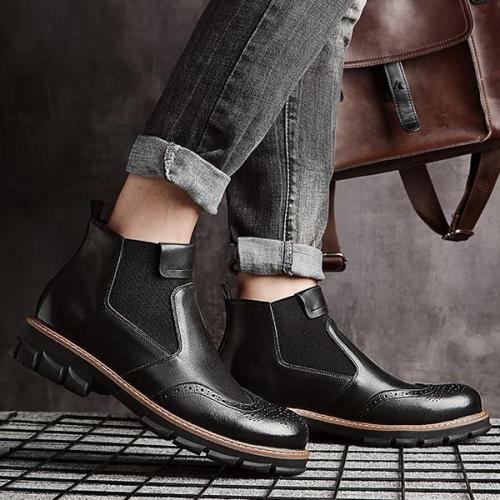 Men Cow Leather British Style Pointed Toe Boots
