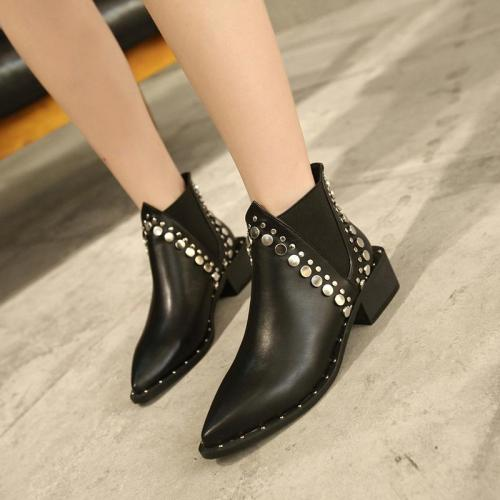Women's Fashion Black Studded Chelsea Boots