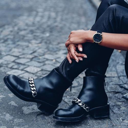 Women's fashion black chain decorative Martin boots