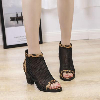 High-heeled Women's Rough Heel Hollow Summer 2020 Fish Mouth To Help Boots Leopard Print Large Size Sandals