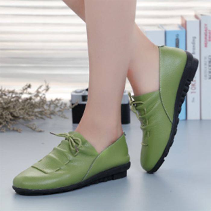 Women Comfy Sole Daily Flat Heel PU Loafer Shoes Slip-on