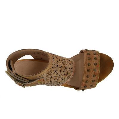 Women Hollow-Out Rivet Embellishment Vintage Retro Chunky Heels Sandals