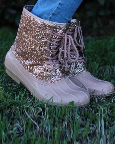 Sequined Lace-Up Ankle Booties