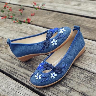Flower Trim Folk Vintage Low Wedges Shoes