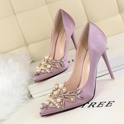 Vintage Elegant Pearl Rhinestone Wedding Party Shoes