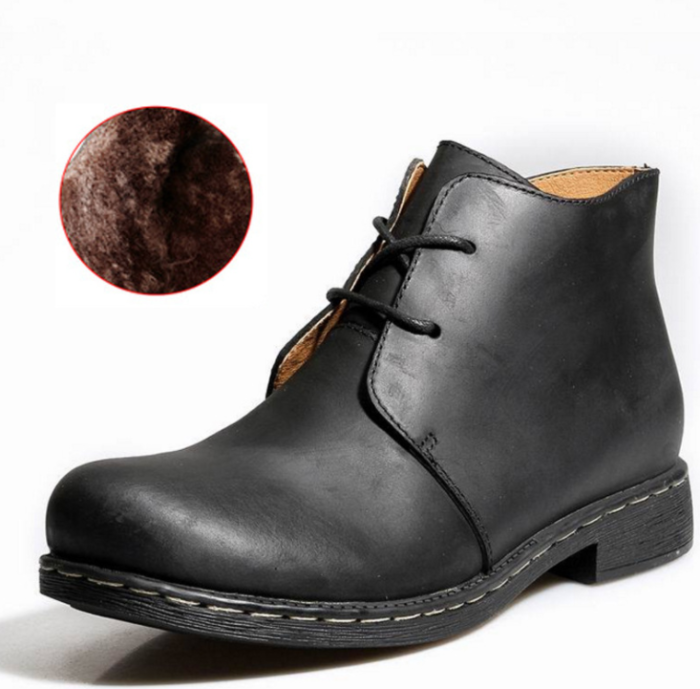 Autumn and winter men's Martin boots high to help cotton boots large size leather boots
