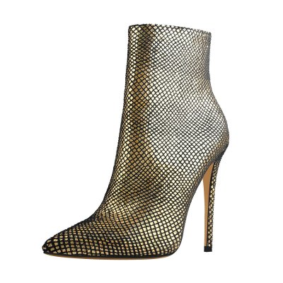 Gold Pointed Toe High Heels Mesh Ankle Booties