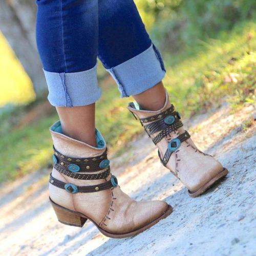 Beige Faux Leather Spring/Fall Chain Chunky Heel Boots