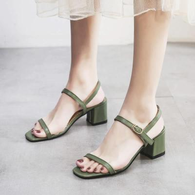 Sandals Women's Summer 2020 New Fashion High Heels Thick Heels Middle Heels Peep Toe One Word Buckle