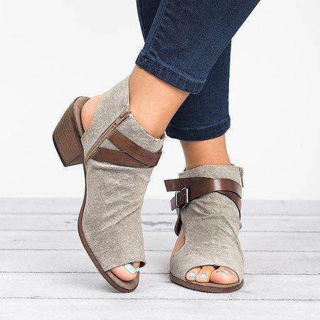 Plus Size Women Sandals Canvas Peep Toe Zipper Sandals