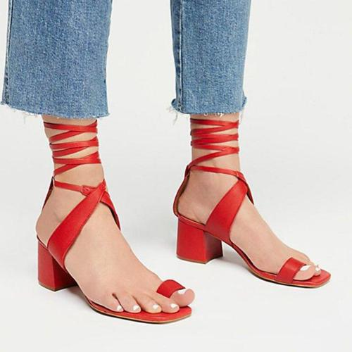 Women Chic Pu Chunky Heel Lace-Up Casual Sandals