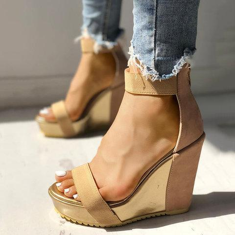 Sexy Open Toe Back Zipper Wedges Sandals