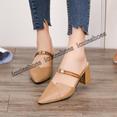 New European and American Sandals Women's Top with Chunky Heels Women's Shoes