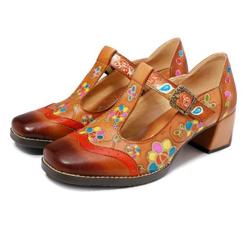 Vintage Print   Handmade Square Head High Heels
