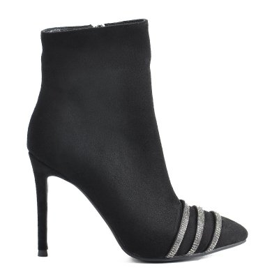 Rhinestone Strip Black Women Ankle Boots