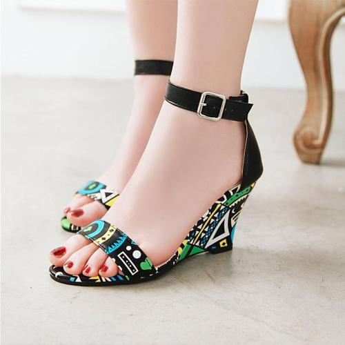 Wedge Heel Printed Party Open Toe Sandals