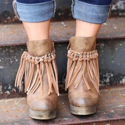 Wedge Booties Artificial Leather Tassel Boots Wedge Heel Zipper Shoes