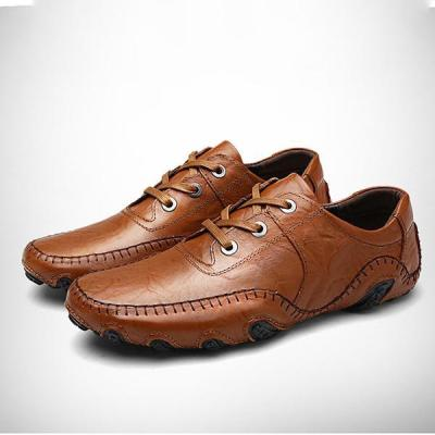 Mens Lace-up Hand Stitching Loafers Breathable Flat Shoes