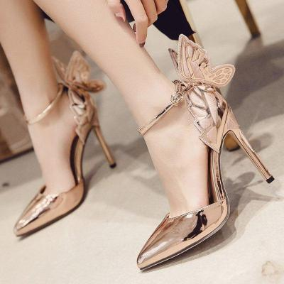 Elegant High Heel Pointed Toe Champagne Heels