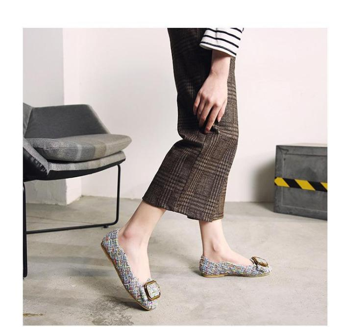 Big Size Knitted Pointed Toe Chunky Heel Shoes Slip on Flat Loafers Microfiber