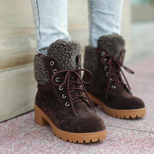 Women Plus Size Fleece Ankle Boots Casual Shoes
