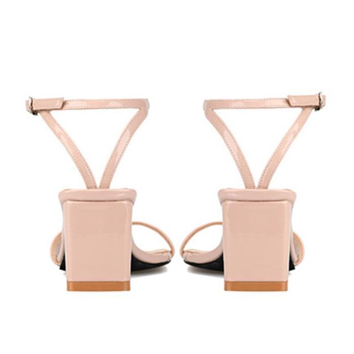 Adjustable Buckle Chunky Heel Date Heels