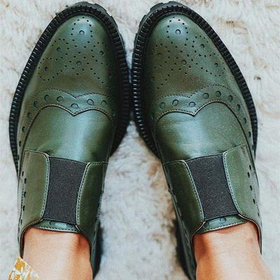 Vintage round head color matching shoes