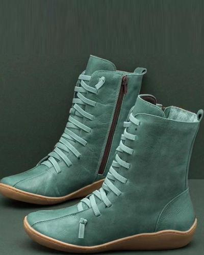 Leatherette High Top Zip Boots