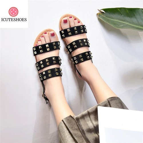 Vintage Women Sandals Breathable Rivets Open Toe Buckle Strap Flat Sandals Rome Slippers