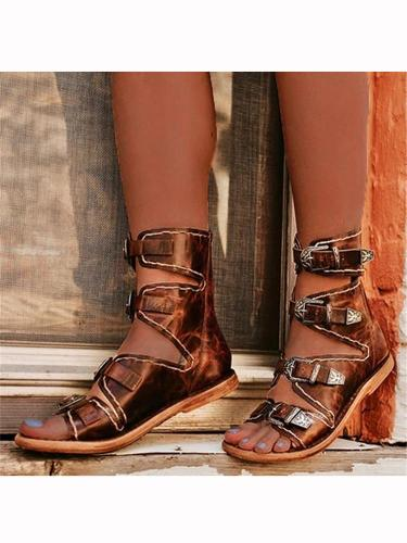 Women's Buckle Back Zipper Flat Sandals