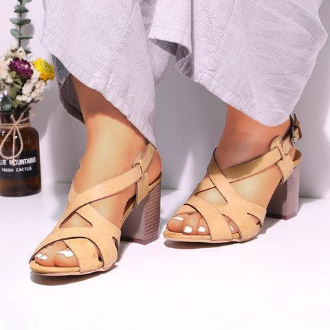 Women Chunky Heel Pumps Casual Sandals